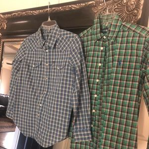Two long sleeve boys polo button up shirts